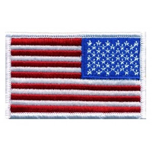US FLAG PATCH WHITE REVERSED