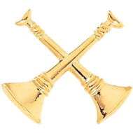 Fireman Cut-Out Bugle Pins - 2 Crossed Bugles (Dist. Chief)