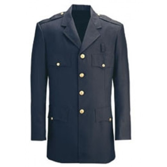 Police Blouse Coat - Men's Single Breasted Fully Lined Dress Coat